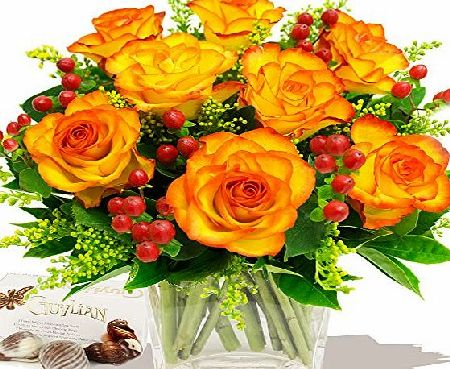 Eden4flowers TUSCANY BOUQUET OF ORANGE ROSES amp; CHOCOLATES - Birthday Flowers Thank You and Anniversary Bouquets by Eden4flowers