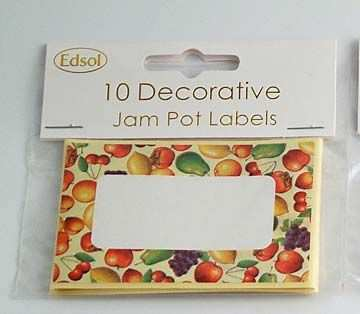 Edsol jam pot labels in fruit design.