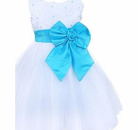 EFE Flower Girls Big Bow Princess Dress Kids Wedding Bridesmaid Party Tutu Dresses Blue Bowknot 3-4 Years