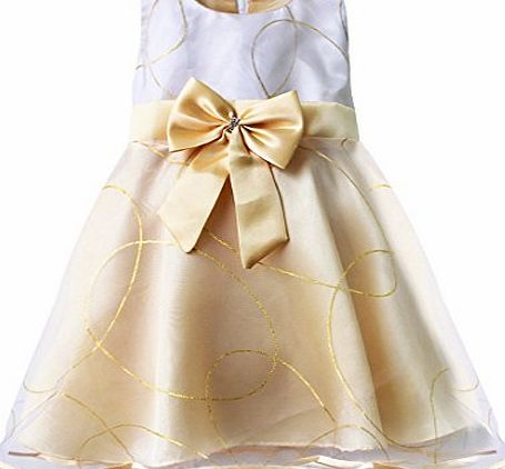 EFE Girls Dress Champagne Multi-layers Party Wedding Pageant Dresses Kids Clothes Size 4-5 Years