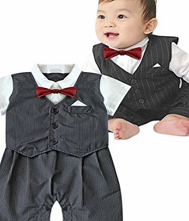 EFE Infant Toddler Boy Baby Bowtie Gentleman Romper Wedding Tuxedo Suit Striped Jumpsuit Outfits Clothes Grey 6-12 Months