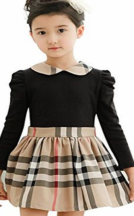 Kids Girls Tartan Long Sleeve Cotton School Dress Skirt Party Clothes 3-4 Years