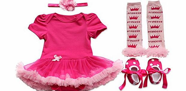 EFE Newborn Infant Baby Girls 4PCs Outfits Clothing Headband Tutu Dress Leggings Leg Warmers Shoes Headband Hot Pink Crown 0-3 Months