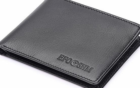EFOSHM Black Genuine Mens Leather Wallet Purse with Credit Card Slot, ID Windows (Black)