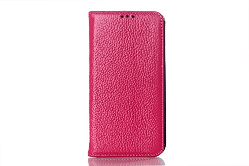 Luxury Real Genuine Leather Business Series Stand Function Wallet Design Protective Flip Case Cover For Samsung Galaxy S5 G9006 -Litchi Grain, Rose