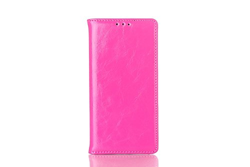 EKCASE Luxury Real Leather HUAWEI ASCEND P7 Case, Genuine Leather Protective Skin Cover Business Series with Wallet Design Flip, Rose