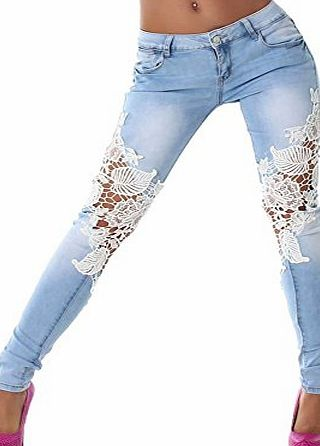 Eleery Fashion Lady Sexy Women Hot Crochet Lace Denim Skinny Pants Stretchy Jeans Slim Pencil Leggings Tights Trousers Casual