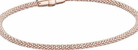 Elements Silver Elements Sterling Silver, Ladies, B4219, Rose Gold Plate Diamond Bead Chain Bracelet of Length 19cm