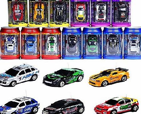ELENKER Mini Speed RC Radio Remote Control Micro Coke Can Racing Car Toy 1:63 Scale Random Color