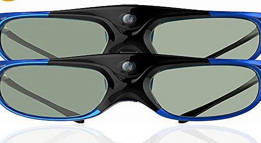 ELEPHAS DLP link 3D Glasses Rechargeable for DLP Projectors Optoma, BenQ, Acer, Viewsonic, DELL, Black/Blue, 2 Pack (2016 Comfortable Version)