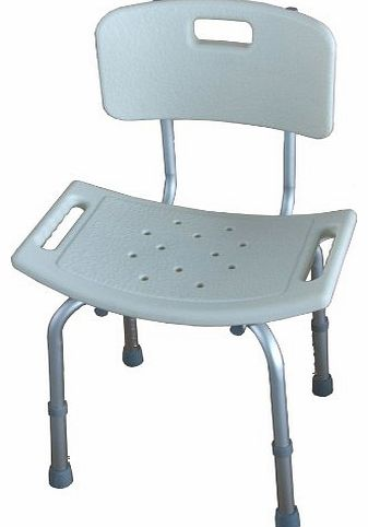 Deluxe Height Adjustable Aluminium Bath Bench / Shower Chair With Back.