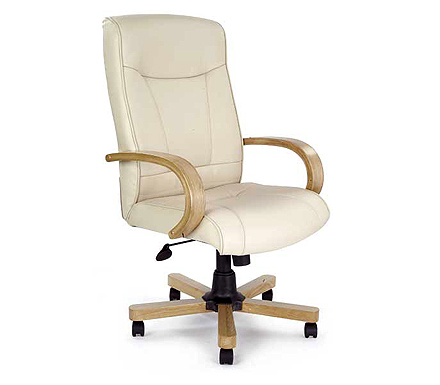 Eliza Tinsley Ltd Clemson Cream Leather Deluxe Office Chair in Oak