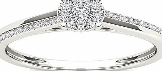 Elizabeth Jewelry 10Kt White Gold 0.15 Ct Diamond Engagement Ring