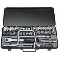 26 Piece 1/2andquot Square Drive Metric Socket Set