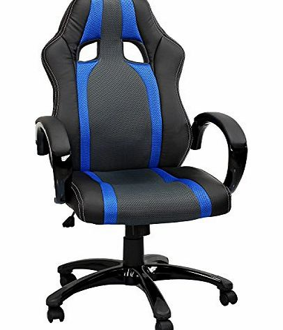 Swivel desk chair executive office Mesh chair black ergonomic padded Computer PC Desk chairs adjustable height armchair (Blue Chair)