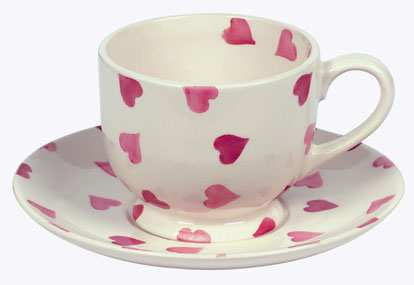 EMMA BRIDGEWATER Pink Hearts Tea Cup and Saucer
