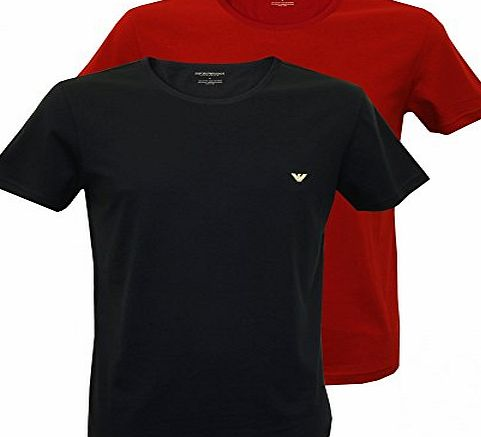 Emporio Armani 2-Pack Jersey Cotton T-Shirts, Red/Navy Small