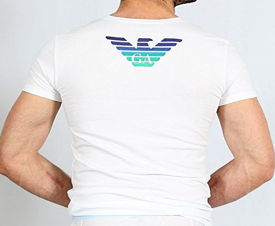 Emporio Armani Eagle Stretch Cotton V-Neck T-Shirt, White White X-Large