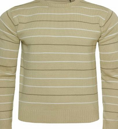 Emporio by Raves Mens Striped Jumper Emporio Max-05 Crew Neck Casual Sweater Knitwear Pullover, Stone, Small
