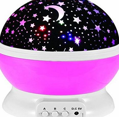 Emwel LED Starry Night Light Lamp Rotation Night Star Projection Lamp For Children Kids Baby Bedroom (Pink)