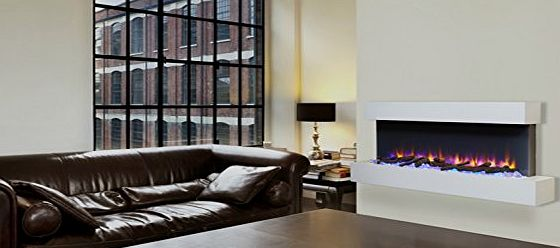 Endeavour Fires and Fireplaces Endeavour Fires Runswick Wall Mounted Electric Fire, 220/240Vac, 50 Hz, 1amp;2kW, With Multi Function Remote Control with a Light Cream MDF Mantel amp; Plinth