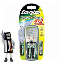 Compact AA Battery Charger + 4 Batteries