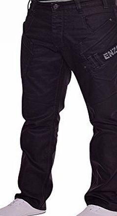 Enzo Mens Designer Black Branded EZ290 Coated Denim Jeans Pants Pockets 34W 30L Black