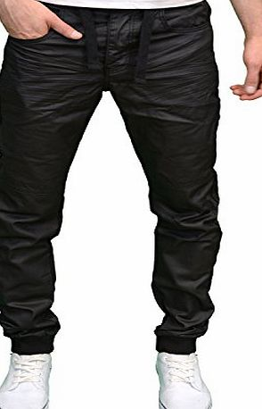 Enzo Mens Designer Branded Regular Fit Black Coated Cuffed Jogger Jeans