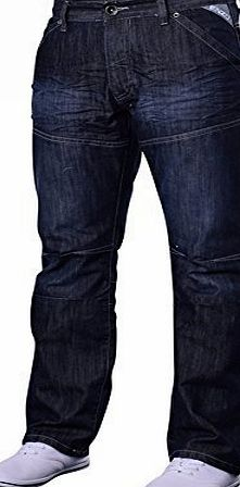 Enzo Mens Designer Enzo EZ243 EZ244 Jeans 36 Regular Dark Wash (EZ244) (36W x Regular)