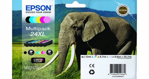 Epson  C13T24384010 Elephant 24XL (RF/AM) High Capacity 6 Colour Multipack Ink Cartridge (Black Cyan Magenta Yellow Light Cyan Light Magenta) for Expression Photo: XP-750 / XP-850 T2438