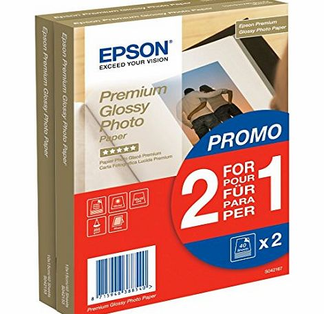 Twin pack of Epson 10x15 Premium Glossy Photo Paper - 40 Sheets (x 2 = 80 sheets)