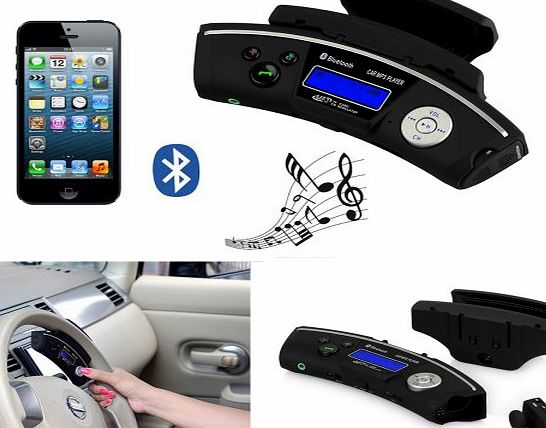 Steering Wheel Bluetooth Handsfree Car Kit- Wireless Headphones with Wireless Earpiece MP3 Audio Player FM Transmitter - Support TF & Micro SD Card