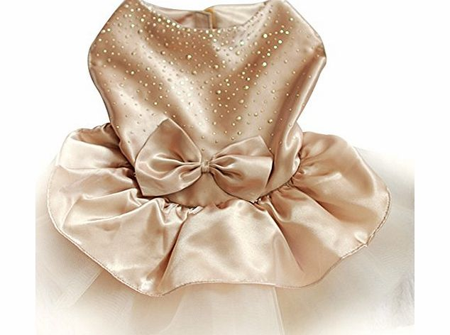 Etosell Dog Clothes Bow Tutu Princess Dress Puppy Lace Skirt Wedding Party Pet Apparel Golden L