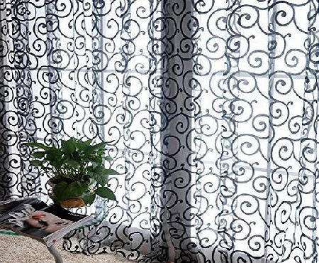 Etosell Scarf Door Window Floral Drape Panel Voile Valance Sheer Curtain Black