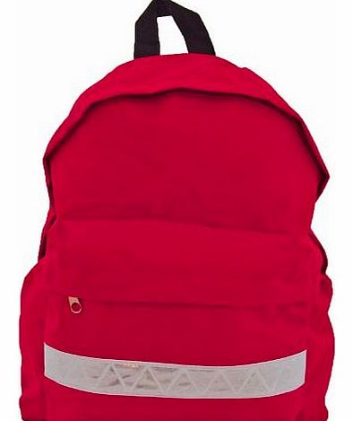 Euro Childrens Rucksack Backpack Bag in 9 Colours with Safety Strip (Red)