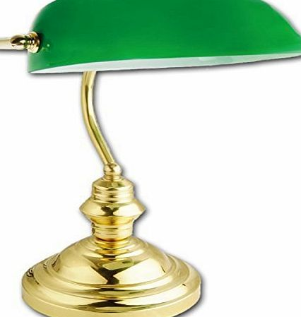 Eurotrade W Ltd Bankers Lamp RETRO CLASSIC BANKERS LAMP TABLE DESK LIGHT POLISHED BRASS GREEN SHADE TILT HEAD