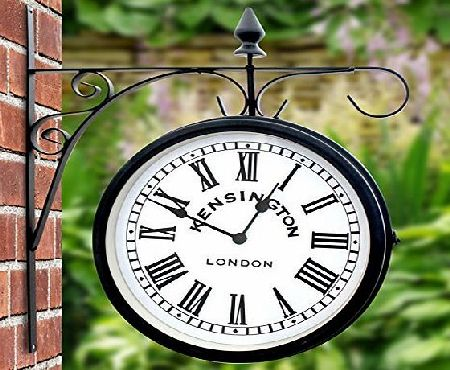 Eurotrade W Ltd Outdoor Garden Kensington Station Outside Bracket Wall Clock 25cm Double Sided