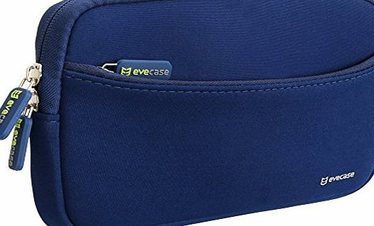 Evecase 7 Inch Tablet / Phablet / GPS Portable Neoprene Travel Carrying Sleeve Case Bag with Accessory Pocket for Samsung, Asus, HTC, Apple, Sony, Lenovo, HP, Kids Tablets, Garmin GPS and More - Blue