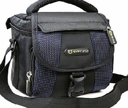 Evecase Camera Carrying Pouch Case Bag with Strap- Black/Blue for Canon EOS 100D, 700D, SX530 HS, SX60 HS, SX510 HS, SX410 IS, SX500 IS, PowerShot G1 X Mark II, G12, EOS 1100D, EOS 600D, Nikon D3200,