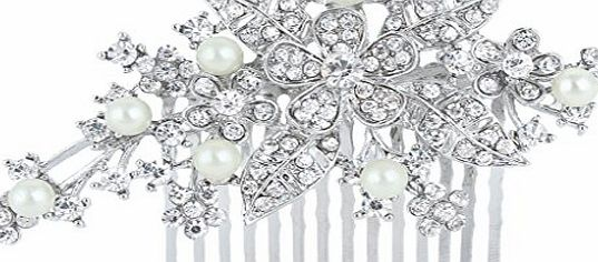 Ever Faith Crystal Orchid Flower Ivory Color Simulated Pearl Bridal Hair Comb Clip N01316-1