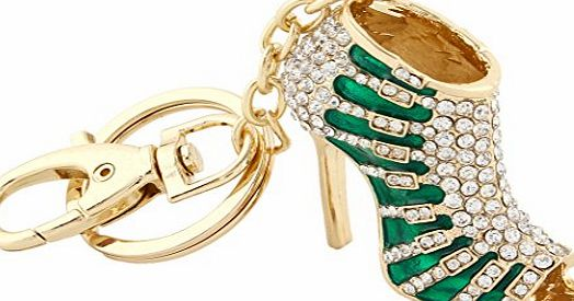 EVER FAITH Womens Austrian Crystal Green Enamel High Heel Shoe Keychain Clear Gold-Tone