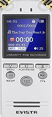 Evistr  Digital Voice Activated Recorder Dual Microphone HD Stereo 8GB High-Fidelity Voice Recorder Recording Dynamic Noise Reducation 1.4 Inch TFT Colorful Display Screen Multifunctional Cutting Segme