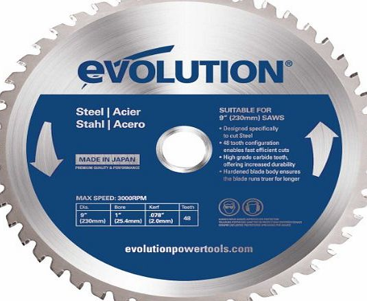 Evolution Evoblade 230 TCT Circular Saw Blade for Steel 230 mm