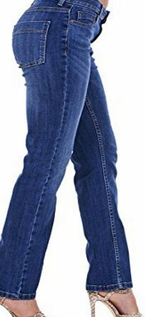 Ex Famous Store Ladies Straight Leg Jeans Womens Regular Fit Blue Cotton Denim Plus Size Pants