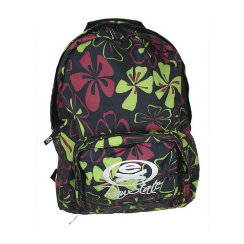 Ladies Ex Raw State Basic Skool Backpack Black/ Green Print