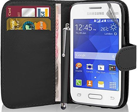 Samsung Galaxy Young 2 SM-G130 - Premium Quality Exclusive Leather Easy Clip On WALLET / FLIP Case / Cover / Pouch With Card Holders + Free Clear Screen Protector + Polishing Cl