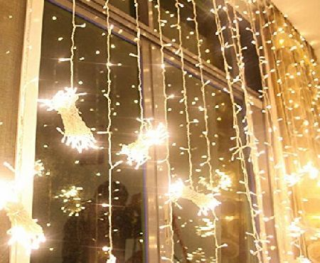 Excelvan 3Mx3M 300LEDs Outdoor/Indoor LED Fairy String Curtain Lights with Controller Occupied with Memory for Christmas Wedding Party Home Bedroom Lighting Decoration (Warm White)