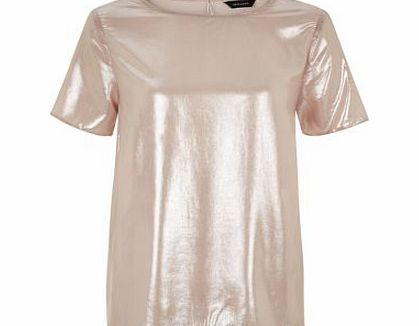 Shell Pink Shimmer Longline T-Shirt 3331560