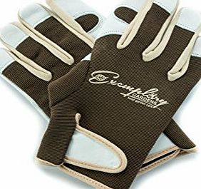 Exemplary Gardens Leather Gardening Gloves for Women and Men. Adjustable Velcro Fastener and Breathable Spandex Back. Ideal for General Garden Tasks (Medium)