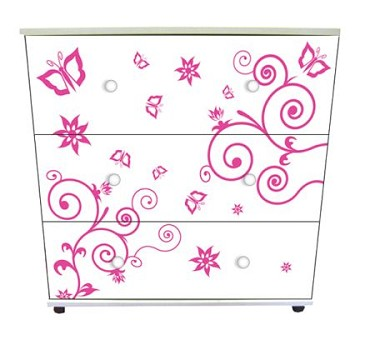 3-Drawer Chest - Pink Butterfly